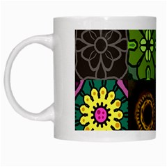 Digitally Created Abstract Patchwork Collage Pattern White Mugs