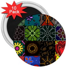 Digitally Created Abstract Patchwork Collage Pattern 3  Magnets (10 Pack)