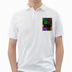 Digitally Created Abstract Patchwork Collage Pattern Golf Shirts
