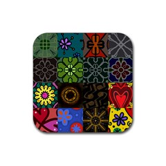 Digitally Created Abstract Patchwork Collage Pattern Rubber Coaster (Square)