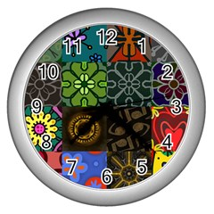 Digitally Created Abstract Patchwork Collage Pattern Wall Clocks (Silver)