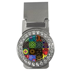 Digitally Created Abstract Patchwork Collage Pattern Money Clips (CZ)