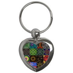 Digitally Created Abstract Patchwork Collage Pattern Key Chains (heart)