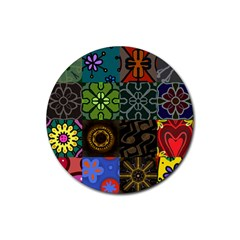 Digitally Created Abstract Patchwork Collage Pattern Rubber Coaster (Round)