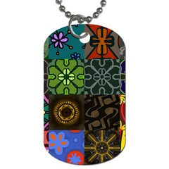 Digitally Created Abstract Patchwork Collage Pattern Dog Tag (One Side)