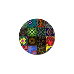 Digitally Created Abstract Patchwork Collage Pattern Golf Ball Marker