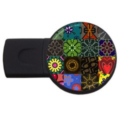 Digitally Created Abstract Patchwork Collage Pattern Usb Flash Drive Round (2 Gb)