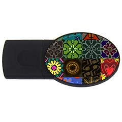 Digitally Created Abstract Patchwork Collage Pattern USB Flash Drive Oval (1 GB)