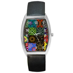 Digitally Created Abstract Patchwork Collage Pattern Barrel Style Metal Watch