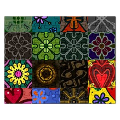 Digitally Created Abstract Patchwork Collage Pattern Rectangular Jigsaw Puzzl