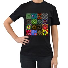 Digitally Created Abstract Patchwork Collage Pattern Women s T-Shirt (Black) (Two Sided)