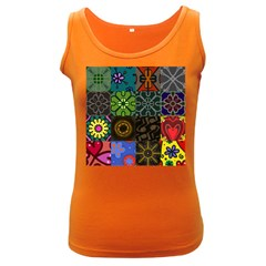 Digitally Created Abstract Patchwork Collage Pattern Women s Dark Tank Top