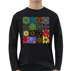 Digitally Created Abstract Patchwork Collage Pattern Long Sleeve Dark T Shirts