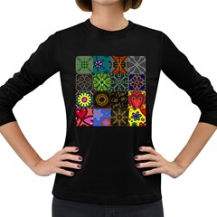 Digitally Created Abstract Patchwork Collage Pattern Women s Long Sleeve Dark T-Shirts