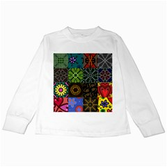 Digitally Created Abstract Patchwork Collage Pattern Kids Long Sleeve T Shirts