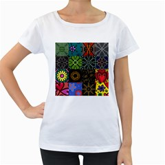 Digitally Created Abstract Patchwork Collage Pattern Women s Loose-Fit T-Shirt (White)