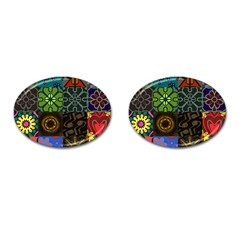 Digitally Created Abstract Patchwork Collage Pattern Cufflinks (Oval)