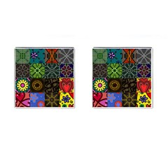 Digitally Created Abstract Patchwork Collage Pattern Cufflinks (Square)