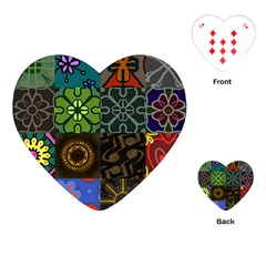 Digitally Created Abstract Patchwork Collage Pattern Playing Cards (Heart)