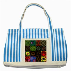 Digitally Created Abstract Patchwork Collage Pattern Striped Blue Tote Bag