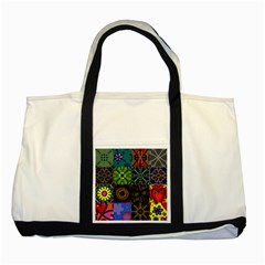 Digitally Created Abstract Patchwork Collage Pattern Two Tone Tote Bag