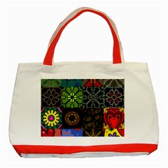 Digitally Created Abstract Patchwork Collage Pattern Classic Tote Bag (red)