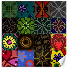 Digitally Created Abstract Patchwork Collage Pattern Canvas 20  x 20