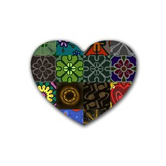 Digitally Created Abstract Patchwork Collage Pattern Heart Coaster (4 pack)