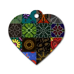 Digitally Created Abstract Patchwork Collage Pattern Dog Tag Heart (Two Sides)