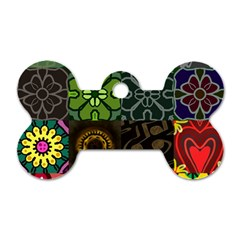 Digitally Created Abstract Patchwork Collage Pattern Dog Tag Bone (One Side)