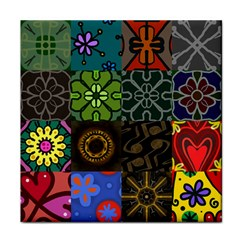 Digitally Created Abstract Patchwork Collage Pattern Face Towel