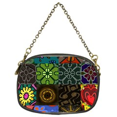 Digitally Created Abstract Patchwork Collage Pattern Chain Purses (one Side)