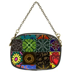 Digitally Created Abstract Patchwork Collage Pattern Chain Purses (two Sides)