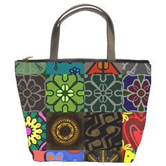 Digitally Created Abstract Patchwork Collage Pattern Bucket Bags