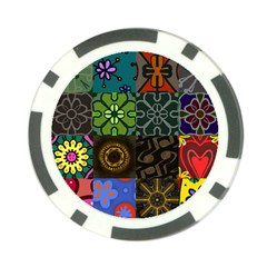Digitally Created Abstract Patchwork Collage Pattern Poker Chip Card Guard (10 pack)