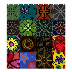 Digitally Created Abstract Patchwork Collage Pattern Shower Curtain 66  x 72  (Large)