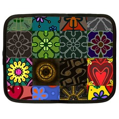 Digitally Created Abstract Patchwork Collage Pattern Netbook Case (XL)