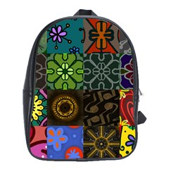 Digitally Created Abstract Patchwork Collage Pattern School Bags(Large)