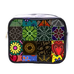 Digitally Created Abstract Patchwork Collage Pattern Mini Toiletries Bags