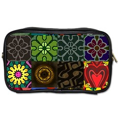 Digitally Created Abstract Patchwork Collage Pattern Toiletries Bags 2-Side