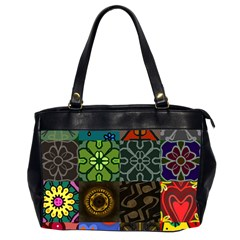 Digitally Created Abstract Patchwork Collage Pattern Office Handbags (2 Sides)