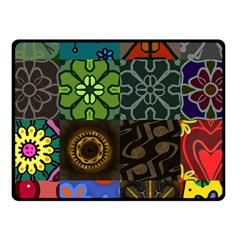 Digitally Created Abstract Patchwork Collage Pattern Fleece Blanket (Small)