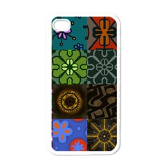 Digitally Created Abstract Patchwork Collage Pattern Apple iPhone 4 Case (White)