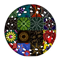 Digitally Created Abstract Patchwork Collage Pattern Ornament (round Filigree)