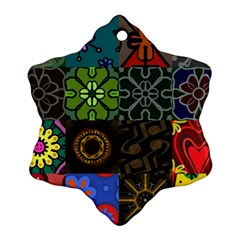 Digitally Created Abstract Patchwork Collage Pattern Ornament (Snowflake)
