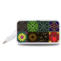 Digitally Created Abstract Patchwork Collage Pattern Portable Speaker (White)