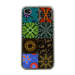 Digitally Created Abstract Patchwork Collage Pattern Apple iPhone 4 Case (Clear)