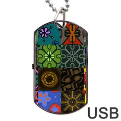 Digitally Created Abstract Patchwork Collage Pattern Dog Tag USB Flash (Two Sides)