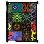 Digitally Created Abstract Patchwork Collage Pattern Apple iPad 2 Case (Black) Front