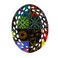 Digitally Created Abstract Patchwork Collage Pattern Oval Filigree Ornament (two Sides)